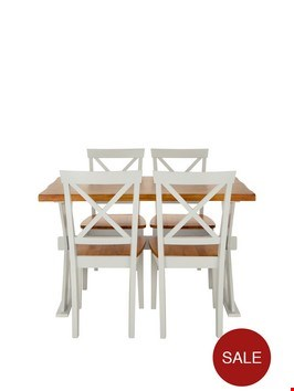 Lot 93 A PAIR OF AXXON DINING SET CREAM / OAK  Chairs RRP £299