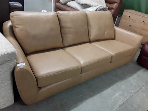 Lot 12509 QUALITY BRITISH MADE, HARDWOOD FRAMED TAN LEATHER VINTAGE STYLE 3 SEATER SOFA