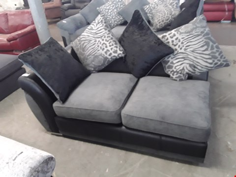 Lot 90 DESIGNER BLACK FAUX LEATHER AND GREY FABRIC SOFA SECTION