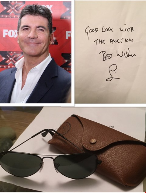 Lot 42 SHADES & HAND WRITTEN NOTE DONATED BY 'MR X FACTOR ' SIMON COWELL