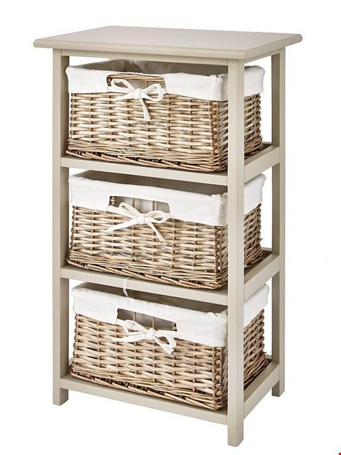 Lot 56 BOXED SPILT WILLOW WOODEN FRAME 3 DRAWER STORAGE UNIT RRP £85.00