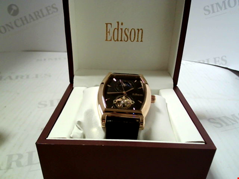 Lot 5641 DESIGNER EDISON AUTOMATIC MOONPHASE DIAL LEATHER STRAP WRISTWATCH RRP £500.00
