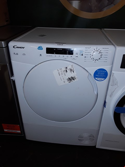Lot 12014 CANDY 9KG WHITE TUMBLE DRYER MODEL: CS C9DF-80