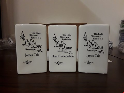 Lot 2413 LOT OF 3 ASSORTED ITEMS TO INCLUDE PERSONALISED LOVING MEMORY CERAMIC TEA LIGHT CANDLE HOLDERS X3 RRP £59.97