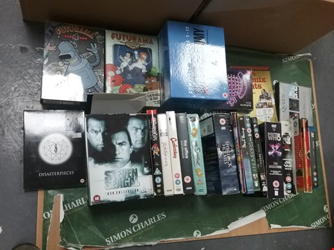 Lot 12018 A BOX OF APPROXIMATELY 23 ASSORTED DVD/BOXSETS TO INCLUDE A STEVEN SEAGULL COLLECTION AND A FUTURAMA COLLECTION