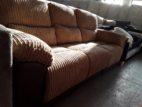Lot 68 DESIGNER BROWN FAUX LEATHER AND BROWN JUMBO CORD MANUAL RECLINING 3 SEATER SOFA