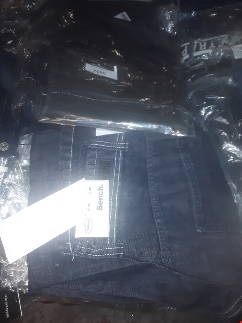 Lot 2060 LOT OF APPROXIMATELY 10 BRAND NEW ASSORTED JEANS TO INCLUDE ETO STRAIGHT LEG DARKWASH JEANS, BENCH BOYFRIEND FIT JEANS AND FIRETRAP BOOTCUT JEANS - VARIOUS SIZES RRP £190