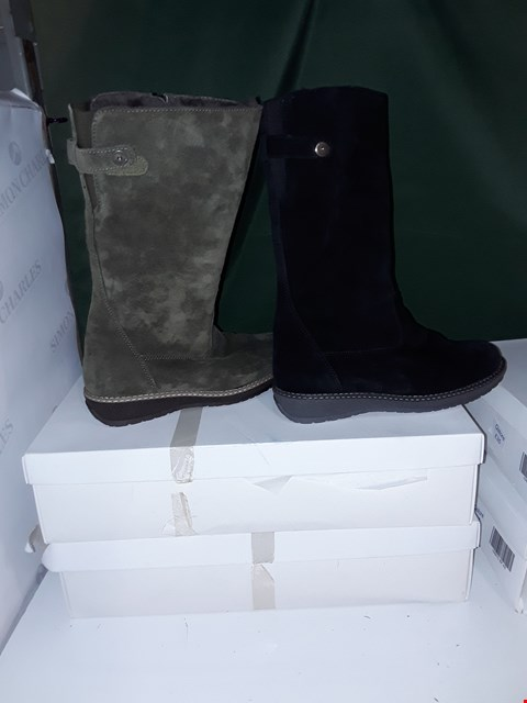 Lot 1068 LOT OF 4 PAIRS OF ASSORTED COLOUR VITAFORM SUEDE BOOTS