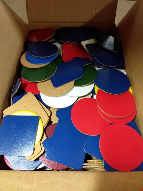 Lot 590 BOX OF APPROXIMATELY 500 ASSORTED LEATHER DRINKS COASTERS