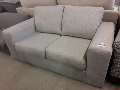 Lot 34 QUALITY BRITISH DESIGNER NATURAL FABRIC TWO SEATER SOFA