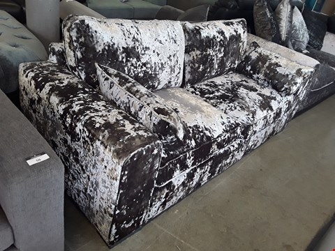 Lot 55 DESIGNER SILVER CRUSHED VELVET 3 SEATER SOFA