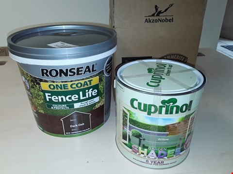 Lot 12032 LOT OF 22 AS NEW OUTDOOR PAINTS TO INCLUDE CUPRINOL 2.5L GARDEN SHADES - WILLOW & RONSEAL 5L ONE COAT FENCE - DARK OAK