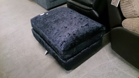 Lot 1230 DESIGNER LLB SCAPA BLACK CRUSHED VELVET FABRIC FOOTSTOOL