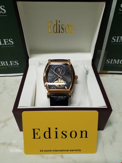 Lot 4551 EDISON ROSE GOLD CASING & GENUINE LEATHER STRAP MEN'S AUTOMATIC WATCH