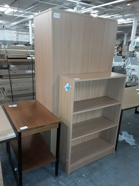 Lot 773 LOT OF 3 ASSORTED OFFICE FURNITURE ITEMS INCLUDES SIDE TABLE, 3-SHELF BOOKCASE AND 2-DOOR LARGE CABINET