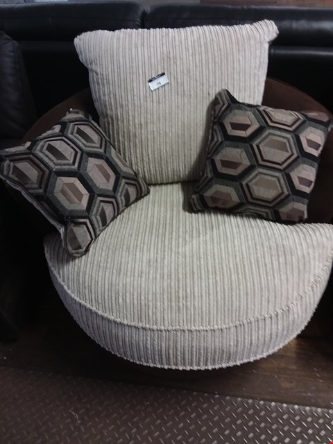 Lot 74 DESIGNER BEIGE CORD FABRIC SNUGGLE CHAIR WITH CUSHIONS