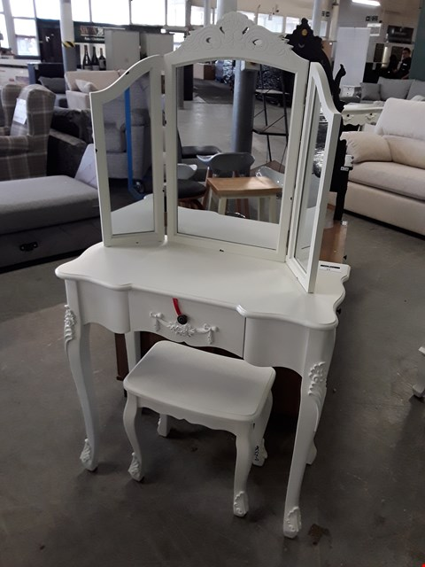 Lot 45 DESIGNER WHITE FINISH ORNATE STYLE DRESSING TABLE, STOOL AND MIRROR
