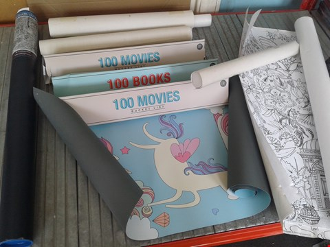 Lot 18 NINE ASSORTED POSTERS, INCLUDING COLOUR-IN POSTERS, BUCKET LIST POSTERS AND UNICORN HEIGHT POSTER