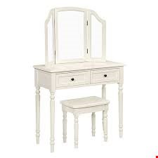 Lot 3044 BOXED DESIGNER LUCY DRESSING TABLE SET IN CREAM