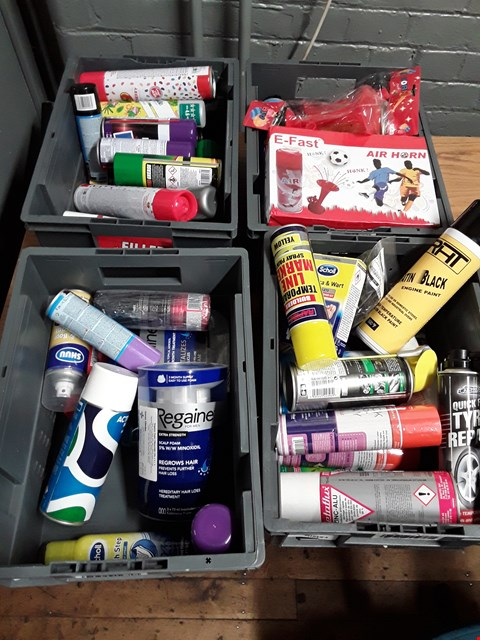 Lot 1004 FOUR TRAYS OF ASSORTED AEROSOLS, INCLUDING, AIR HORNS, TYRE REPAIR, BLACK ENGINE PAINT, GT85 LUBRICANT, SPRAY ADHESIVE, EXPANDING FOAM, SPRAY GREASE ( TRAYS NOT  INCLUDED)