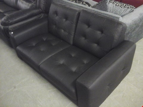 Lot 76 DESIGNER BLACK FAUX LEATHER 2 SEATER SOFA