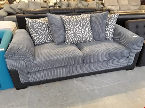 Lot 14 DESIGNER BLACK FAUX LEATHER AND GREY JUMBO CORD PHOENIX 3 SEATER SOFA WITH SCATTER BACK CUSHIONS  RRP £659.00