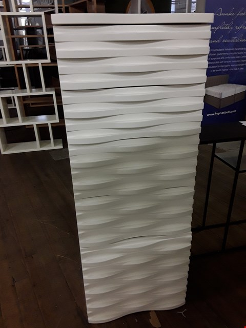 Lot 70 DESIGNER TERENCE CONRAN WAVE COLLECTION BT RUSSELL PINCH TALL WHITE 5 DRAWER CHEST RRP £1445
