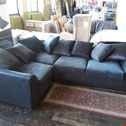 Lot 7032 DESIGNER BLACK FAUX LEATHER AND FABRIC 3 SEATER CORNER SOFA WITH MATCHING SCATTER CUSHIONS