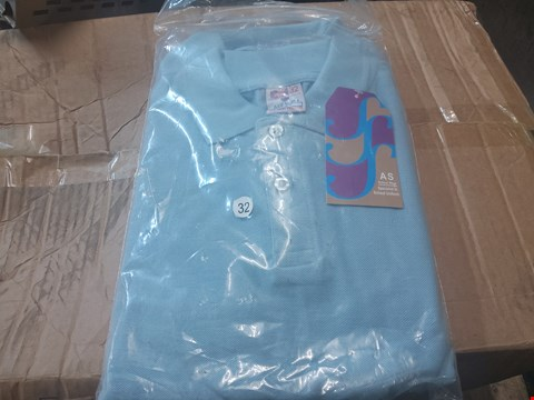 Lot 699 BOX OF AKIF STYLES IGHT BLUE POLO TOPS 11-12YRS