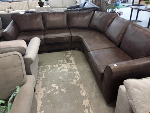 Lot 78 QUALITY BRITISH DESIGNER DISTRESSED BROWN LEATHER LARGE CORNER SOFA