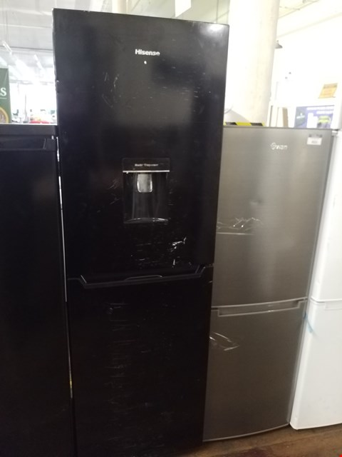 Lot 8523 HISENSE TALL BLACK FRIDGE FREEZER