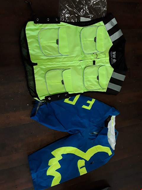 Lot 56 TWO ITEMS PSIR FOX MOTO CROSS SHORTS SIZE 34 & HIGH VIZ BIKERS WEAR WAISTCOAT