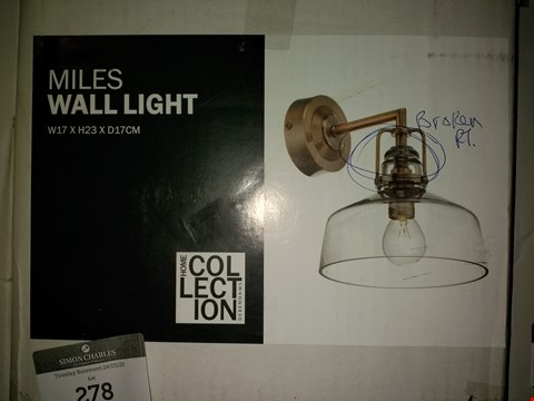 Lot 278 BOXED MILES WALL LIGHT