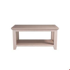 Lot 104 BRAND NEW BOXED SMOKED OAK FINISH COFFEE TABLE WITH SHELF