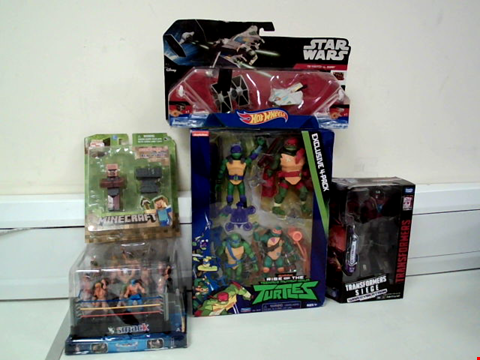 Lot 8030 LOT OF 5 ASSORTED TOYS TO INCLUDE STAR WARS REBELS TIE FIGHTER VS GHOST SET, MINCRAFT OVERWORLD VILLAGER BLACKSMITH AND TRANSFORMERS WAR FOR CYBEATRON SIEGE
