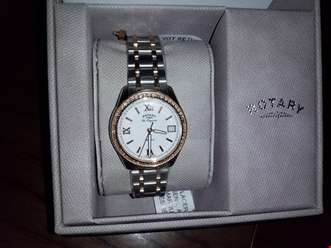 Lot 9271 ROTARY SILVER AND ROSE GOLD DETAIL DATE DIAL TWO TONE STAINLESS STEEL BRACELET LADIES WATCH RRP £350.00