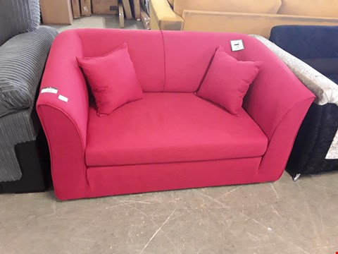 Lot 350 DESIGNER RED FABRIC FOLD OUT 2 SEATER SOFA BED