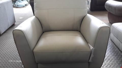 Lot 10 DESIGNER PALE GREY FAUX LEATHER EASY CHAIR