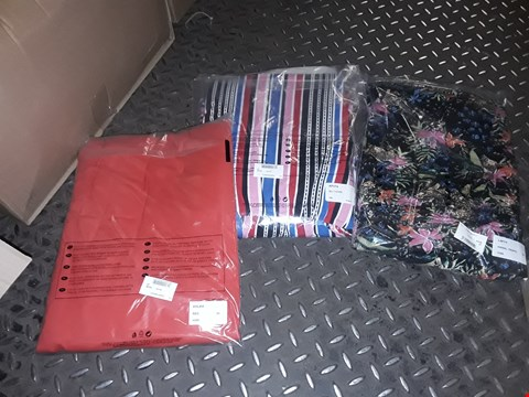 Lot 864 A BOX OF APPROXIMATELY 30 ASSORTED CLOTHING ITEMS TO INCLUDE,  RED CARDIGAN SIZE 24 , MULTI STRIPE DRESS 24 AND ANIMAL TROPIC DRESS 24 ETC