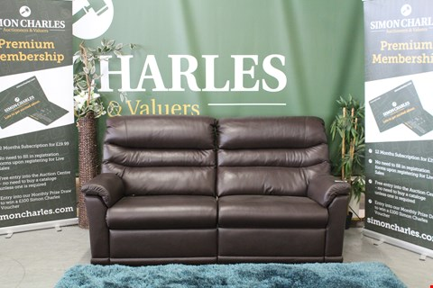 Lot 10010 QUALITY BRITISH MADE, HARDWOOD FRAMED DARK BROWN LEATHER POWER RECLINING 3 SEATER SOFA