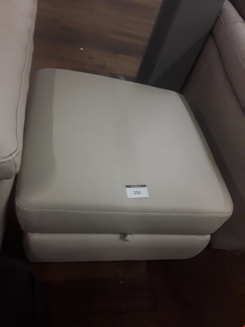 Lot 19 QUALITY ITALIAN TAUPE LEATHER UPHOLSTERED SENSOR STORAGE FOOTSTOOL