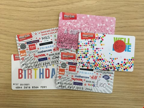 Lot 12 5 ONE4ALL GIFT CARDS.  TOTAL VALUE £160
