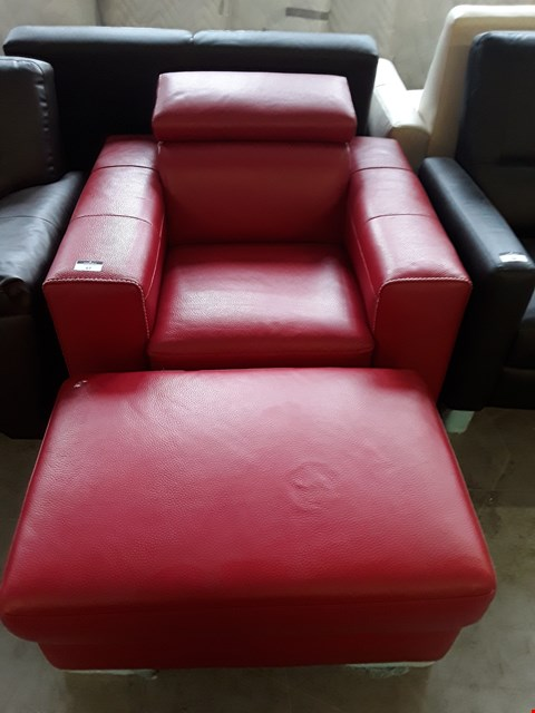 Lot 67 BRAND NEW QUALITY ITALIAN DESIGNER RED LEATHER ARMCHAIR WITH ADJUSTABLE HEADREST AND ACCOMPANYING STORAGE FOOTSTOOL