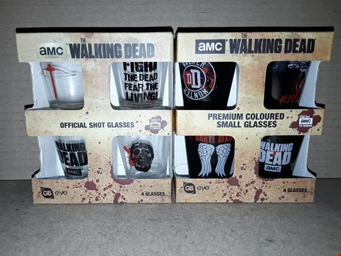 Lot 190 BOXED BRAND NEW THE WALKING DEAD PREMIUM COLOURED SMALL GLASSES AND OFFICIAL SHOT GLASSES
