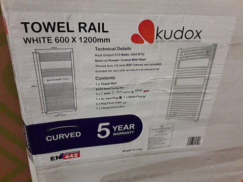 Lot 128 KUDOX WHITE CURVED ELECTRIC TOWEL RAIL - 1200X600MM