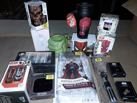 Lot 2209 BOX OF APPROXIMATELY 20 ASSORTED ITEMS TO INCLUDE OCEAN MASTER ACTION FIGURE, SPIDER-MAN MUG & GLASS, STAR WARS GRATER: DARTH VADER LIGHTSABER HANDLE