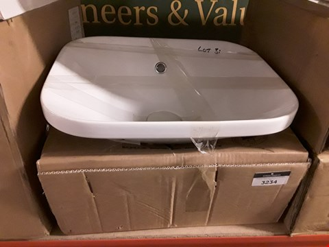 Lot 3234 2 x WHITE CERAMIC 45CM RECESSED BASIN