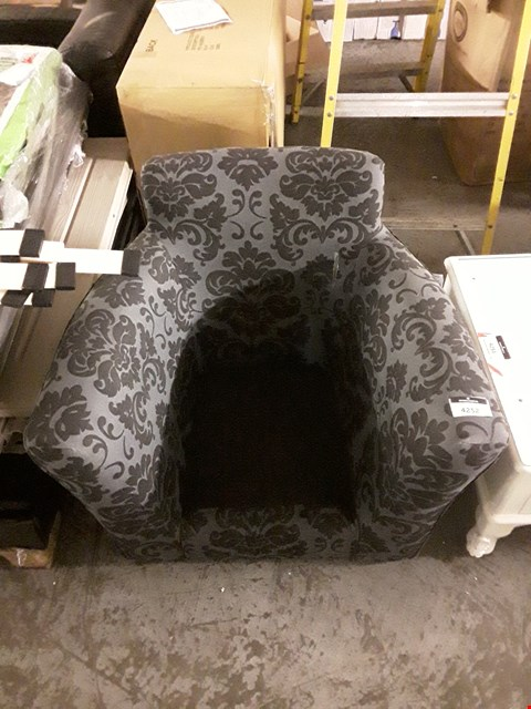 Lot 3076 DESIGNER GREY/BLACK FABRIC WITH FLORAL DETAIL ARMCHAIR