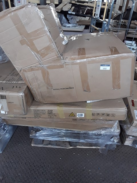 Lot 1432 PALLET OF ASSORTED FLAT PACK FURNITURE TO INCLUDE BED FRAMES AND BED PARTS
