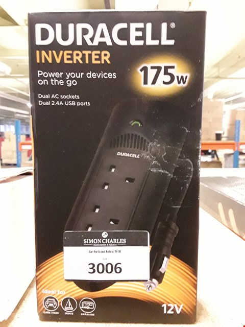 Lot 3006 DURACELL 12 INVERTER 175W